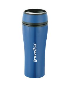 A blue 15oz tumbler with black accents and a white logo