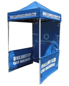 Blue 600D polyester 5x5ft event tent with full back wall and two half walls