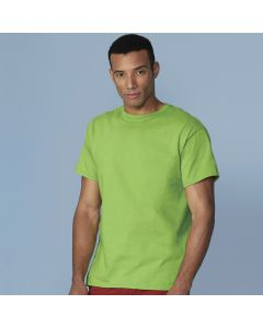 A lime coloured cotton round neck T-Shirt being worn by a short haired man with his arms at his sides