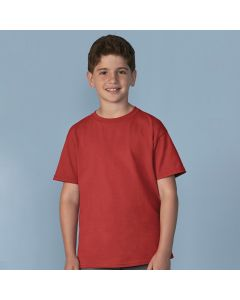 A red coloured cotton round neck youth T-shirt being worn by a short haired boy