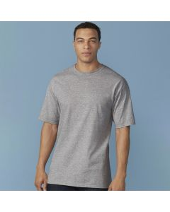 A sport grey coloured round neck cotton tall T-Shirt being worn by a short haired model with his hands at his sides
