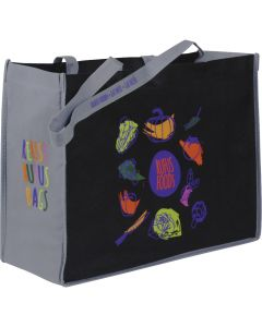 black non woven small shopper tote with grey sides and full colour logo on the side and the front