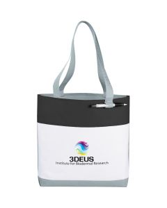 A black and white convention tote with grey accents and handles and a full colour logo