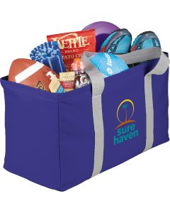 royal blue rectangle carry all tote with grey handles a full colour logo and contents inside