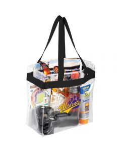 A clear PVC tote with black trim and handles, filled with goods and showing a purple and yellow logo