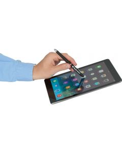 A satin black multi function stylus pen being used on a smart tablet