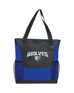 royal blue polycanvas tote with black honey combed front two mesh pockets and a full colour logo