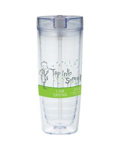 clear 20oz tumbler for hot and cold drinks with a clear flip top lid and a black and green logo
