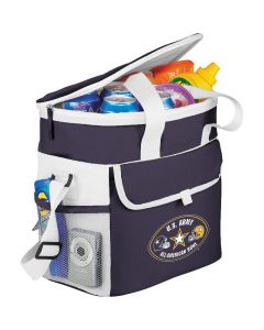 navy blue and white sport cooler with white and yellow logo on the outside and snacks inside
