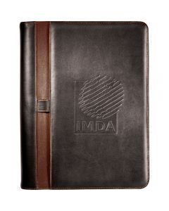 A brown zippered padfolio with a light brown vertical stripe and a debossed logo on the front