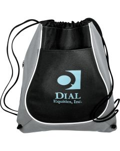 A grey and black drawstring backpack with a light blue logo