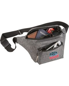 A graphite coloured fanny pack with a full colour logo on the front. The fanny pack is unzipped and filled with goods