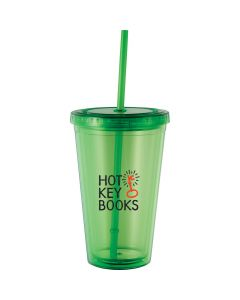 a translucent green plastic tumbler with a matching straw and a red and black logo