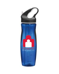 24oz translucent blue BPA free sport bottle with red and white logo and black and white lid