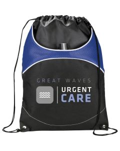 royal blue and black drawstring bag with full colour logo