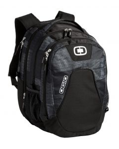navy and charcoal laptop backpack with no custom logo