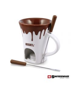 A brown and white 4pc chocolate fondue mug with a brown logo and two fondue forks