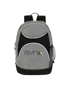grey and black backpack with grey and yellow logo