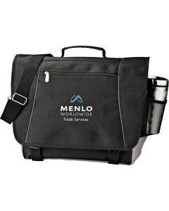 "A black 15"" compu-messenger bag with a blue and white logo"