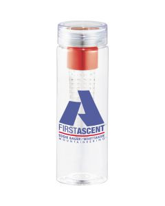 25oz clear BPA free infuser bottle with red and clear infuser inside and blue and red logo