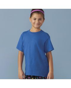 A royal coloured round neck heavy cotton youth T-Shirt being worn by a young girl with a pink alice band