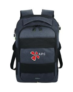 grey checkpoint backpack with full colour logo