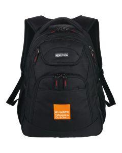 black compu-backpack with orange and white logo