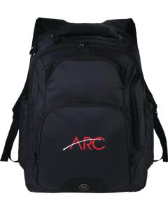black compu-backpack with red and white logo on front