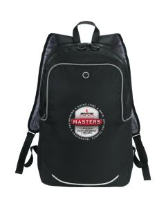 black with white and grey accents compu-backpack with full colour logo
