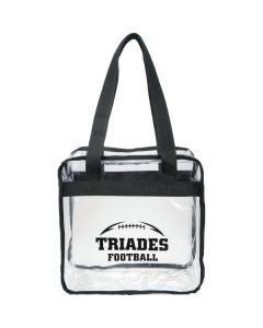 clear with black trim zippered tote with black logo