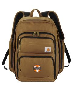 brown deluxe work compu backpack with full colour logo