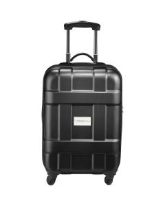 black 4 wheeled 19 inch hard wheeled carry-on bag with a full colour logo