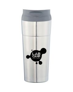 A silver stainless steel tumbler with a grey lid and a black logo