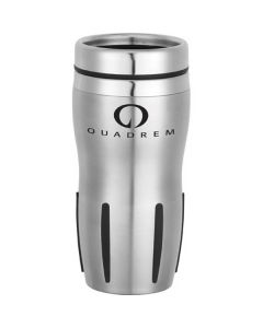 stainless steel 16oz tumbler with black accents and a black logo