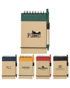 five recycled jotter and pen sets with black print