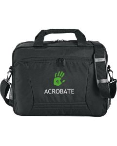 black deluxe business brief with white and green logo