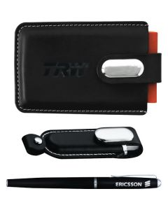 black leather USB gift set with pen and USB in case and business card case shown