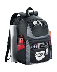 black and grey compu-backpack with white logo angled view