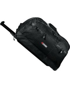 black 25 inch rolling duffle with white and red logo and the handle extended