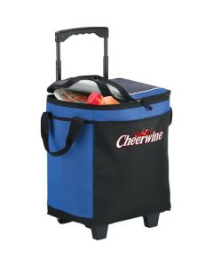 royal blue and black 32 can rolling cooler half unzipped and full showing red and white logo