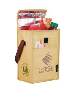 brown coloured laminated non woven lunch bag in the open position filled with food and showing purple logo