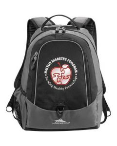 black and grey compu-daypack with full colour logo