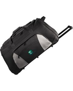 black with grey accents 26inch wheeled travel duffle with handle extended and white and green logo