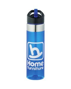 20oz blue translucent BPA free sport bottle with white logo silver accents and a black lid