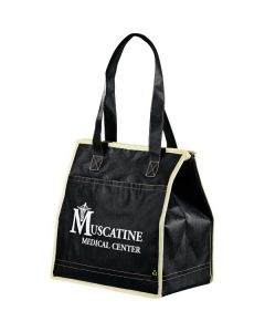 black non woven quilted insulated tote with white logo and cream trim