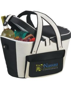 khaki and black picnic basket cooler half open to show groceries and with full colour logo