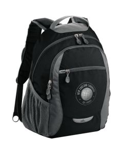 black with grey accents backpack with silver logo and a curved top