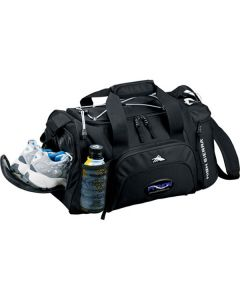 black 22inch duffle with full colour logo slightly unzipped to show storage options and examples