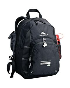 black daypack with white logo