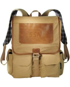 brown compu-backpack with plaid strap insides and an embossed logo on the body